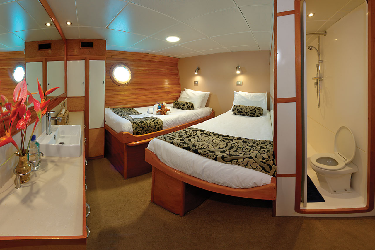 Stateroom with beds separated