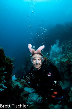 Stephanie is Brett's underwater bunny!