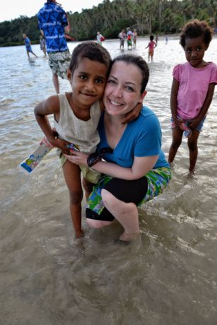 Alison & new BFF from Kiobo Island - by Bruce