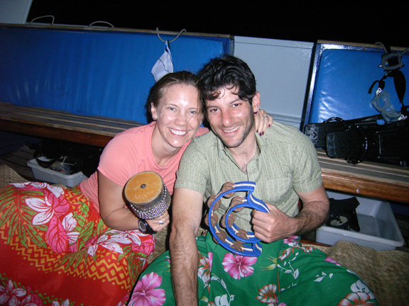 Brett & Stephanie enjoying the Kava night on Nai'a - taken by Susan