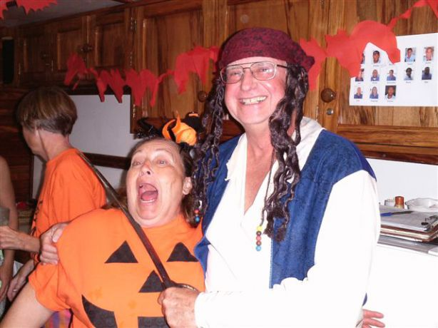 Captain Jack (Bert) and Pumpkin (Jonne) getting rowdy at the Halloween party
