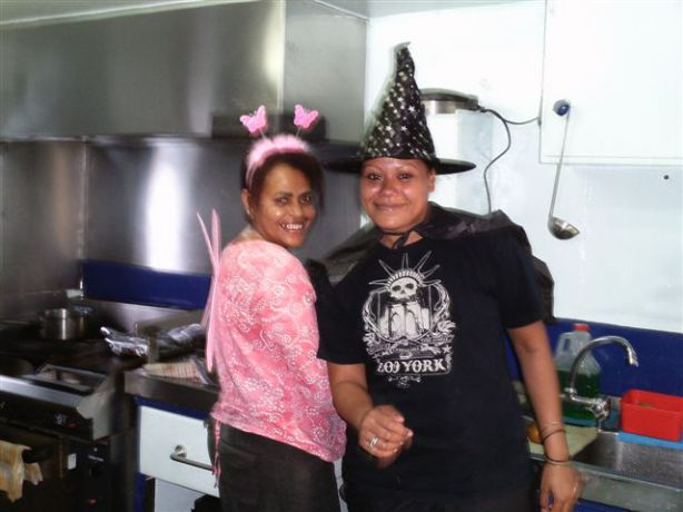 Talia and Sereana hard at work on Halloween
