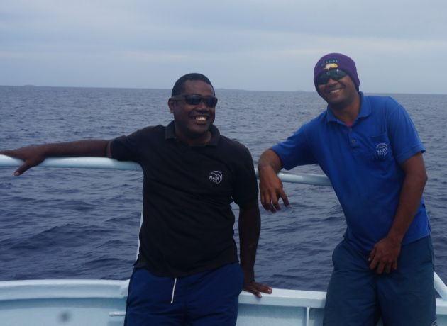 Jovilisi and Joji take a break from spotting whales - by Dan